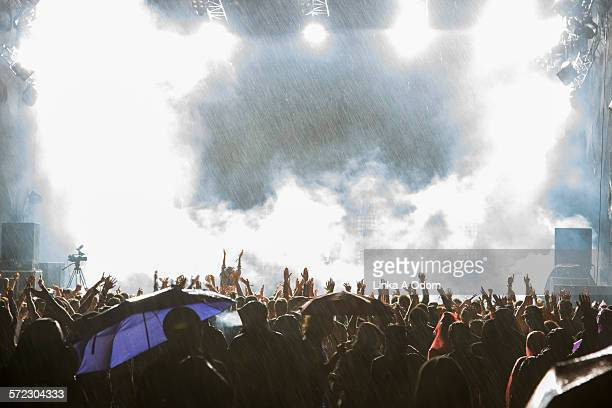 Fans with raised arms at rainy music festival