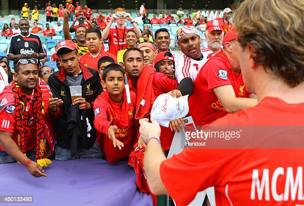 Fans with Steve McManaman during the Legends match between Liverpool FC Legends and Kaizer Chiefs Legends at Moses Mabhida Stadium on November 16...