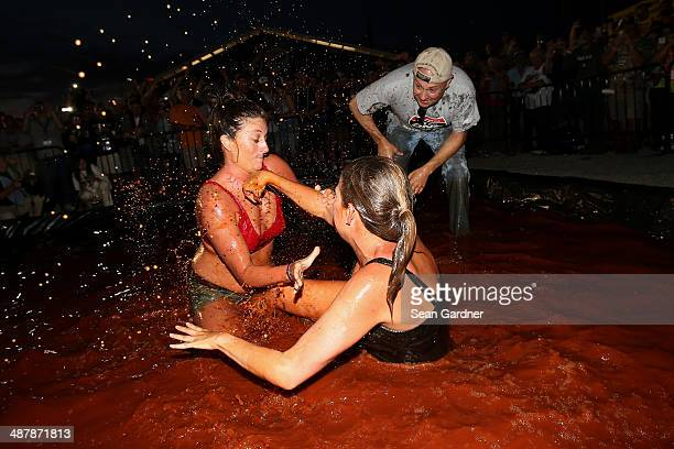 Fans wrestle in barbecue sauce in the infield following qualifying for the NASCAR Nationwide Series Aaron's 312 at Talladega Superspeedway on May 2...