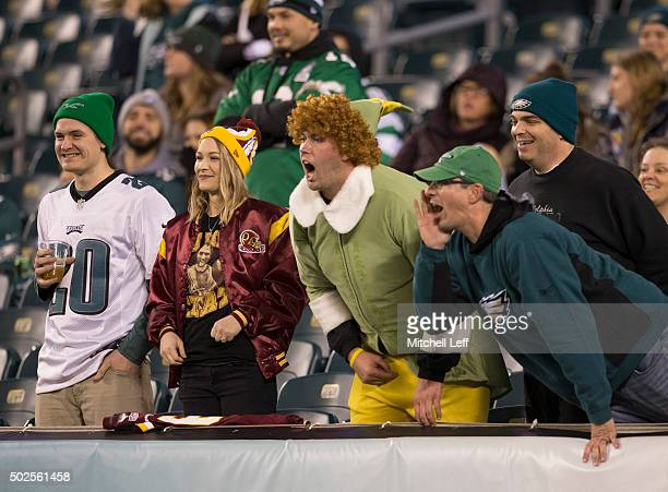 Fans yell at the players prior to the start of the game between the Washington Redskins and Philadelphia Eagles on December 26 2015 at Lincoln...