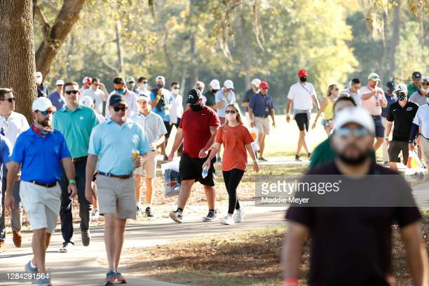 Fanswalk down a path during the second round of the Houston Open at Memorial Park Golf Course on November 06, 2020 in Houston, Texas. The Houston...