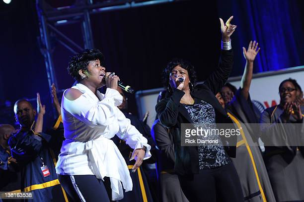 Fantasia Barrino and Diane Barrino perform during rehearsals for Super Bowl Gospel Celebration 2012 at Clowes Memorial Hall of Butler University on...