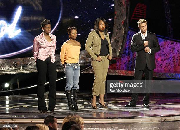 Fantasia Barrino La Toya London and Jennifer Hudson with Ryan Secrest host face elimination on 'American Idol' Season 3 on April 21 2004