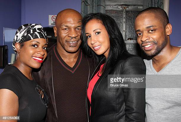 Fantasia Barrino Mike Tyson Lakiha Spicer Tyson and Dule Hill pose backstage at the hit musical After Midnight on Broadway at The Brooks atkinson...