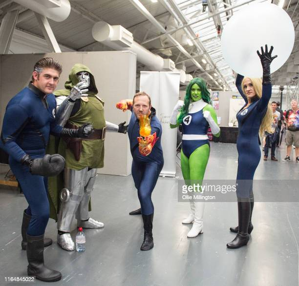Fantastic 4 Cosplay group consisting of Reed Richards Doctor Victor Von Doom Johnny Storm Ben Grimm Jennifer Walters and Sue Storm seen during London...
