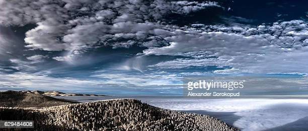 Fantastic aerial infrared view of mountain landscape, like the Lune