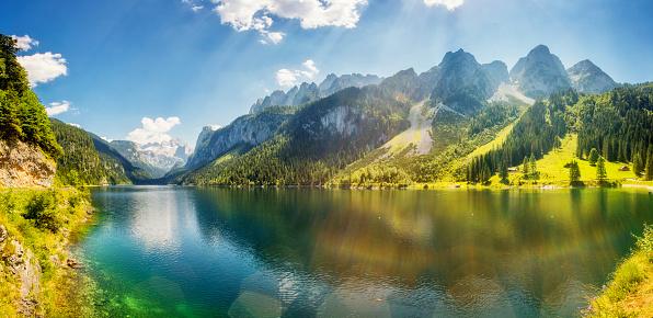 Fantastic azure alpine lake Vorderer Gosausee. Gosau valley in Upper Austria. 1060619470