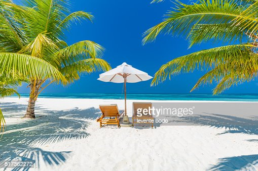 Fantastic Beach Landscape Maldives Scene With Blue Sky White