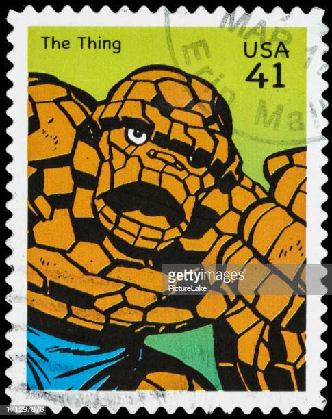 usa fantastic four's the thing postage stamp - fantastic four stock pictures, royalty-free photos & images
