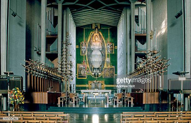 fantastic interior of coventry cathedral - coventry stock pictures, royalty-free photos & images