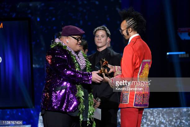 Fantastic Negrito accepts Best Contemporary Blues Album for 'Please Don't Be Dead' at the premiere ceremony during the 61st annual GRAMMY Awards at...