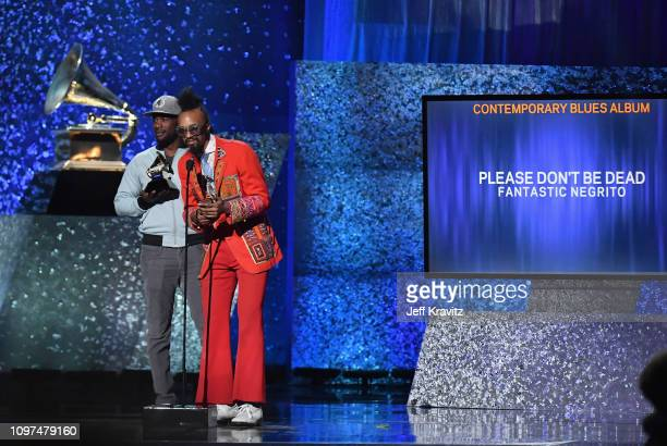 Fantastic Negrito accepts the award for Best Contemporary Blues Album at the premiere ceremony during the 61st Annual GRAMMY Awards at Microsoft...