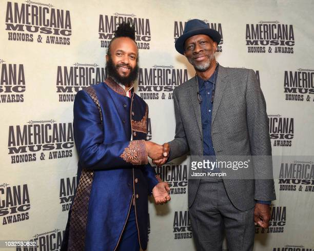 Fantastic Negrito and Keb Mo take photos backstage during the 2018 Americana Music Honors and Awards at Ryman Auditorium on September 12 2018 in...