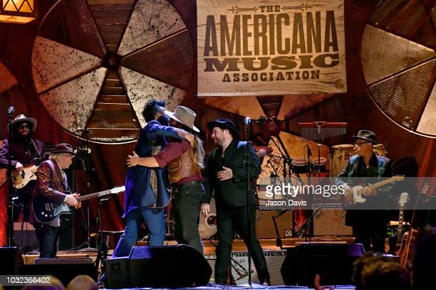 Fantastic Negrito Lukas Nelson and Nathaniel Rateliff perform onstage during the 2018 Americana Music Honors and Awards at Ryman Auditorium on...