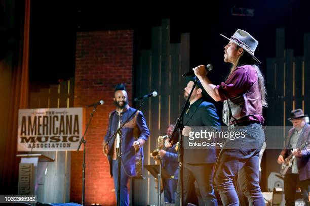 Fantastic Negrito Nathaniel Rateliff and Lukas Nelson perform onstage during the 2018 Americana Music Honors and Awards at Ryman Auditorium on...