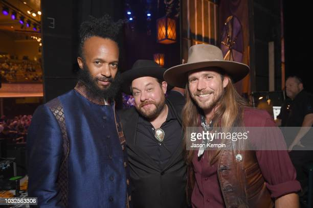 Fantastic Negrito Nathaniel Rateliff and Lukas Nelson take photos backstage during the 2018 Americana Music Honors and Awards at Ryman Auditorium on...