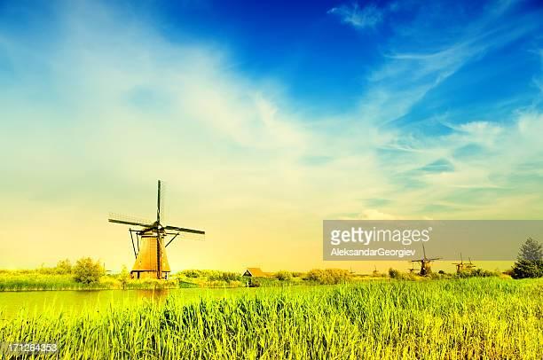 ファンタスティックルーム kinderdijk の風車の眺め - キンデルダイク ストックフォトと画像