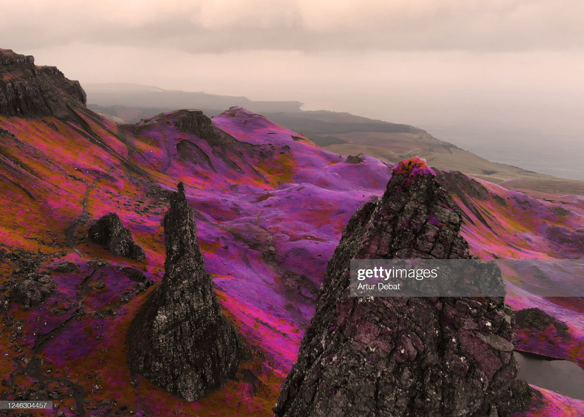 Fantasy aerial picture above the dramatic landscape with infrared colors in Scotland. : 圖庫照片