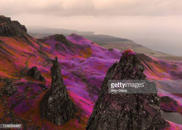 fantasy aerial picture above the dramatic landscape with infrared colors in scotland. - scotland stock pictures, royalty-free photos & images