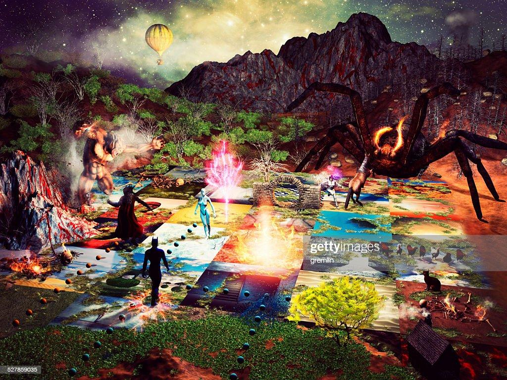 Fantasy board game, magic, play, imagination : Stock Photo
