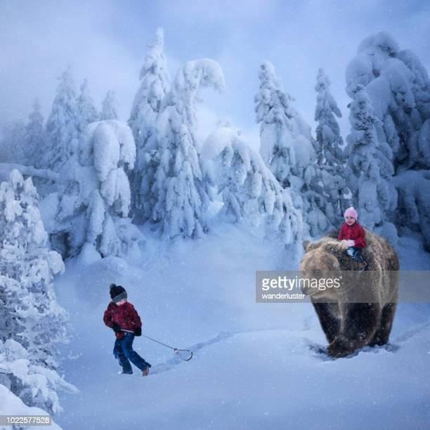 fantasy digital manipulation of young boy leading a path for his little sister riding a grizzly bear through a winter wonderland during a snowfall, montana, usa - orso grizzly foto e immagini stock