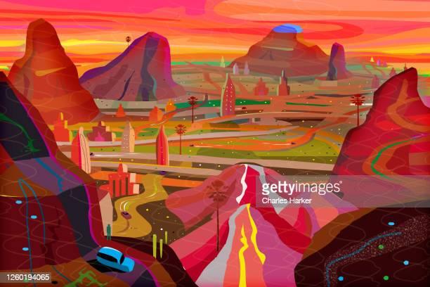fantasy dream city in surreal red desert landscape - nordamerika stock-fotos und bilder