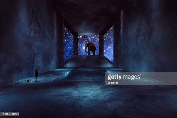 Fantasy elephant walking in spaceship