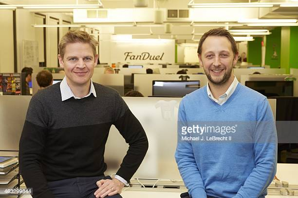 Portrait of FanDuel chief executive officer Nigel Eccles and vice president of product Tom Griffiths during photo shoot at their 1375 Broadway...