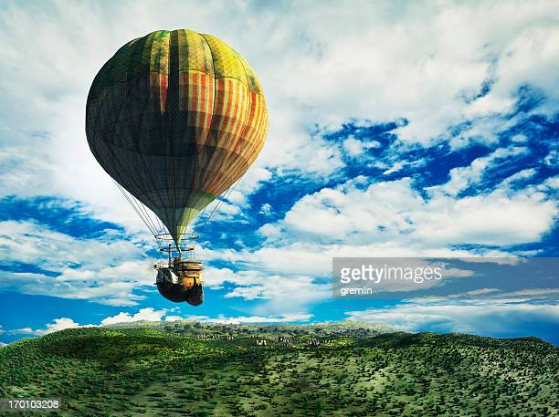Fantasy landscape with flying steampunk balloon