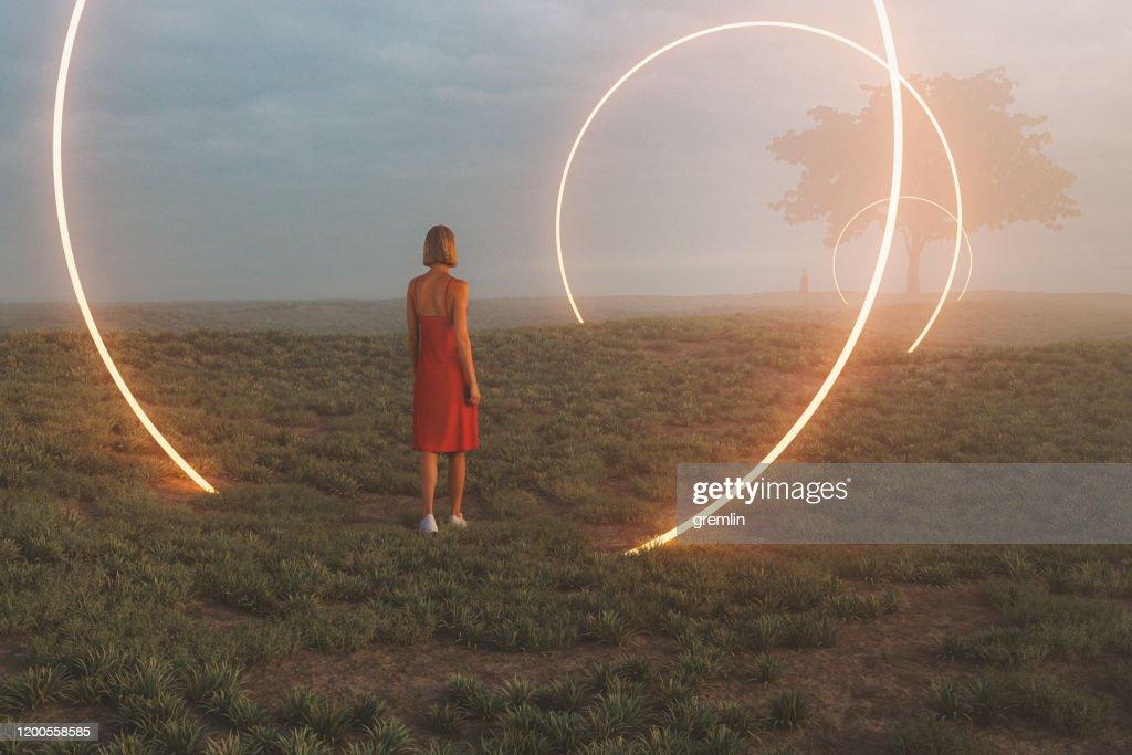 Fantasielandschaft mit Passage durch verschiedene Universen : Stock-Foto