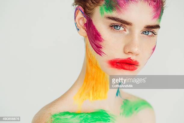 fantasy makeup - crazy holiday models stock photos and pictures