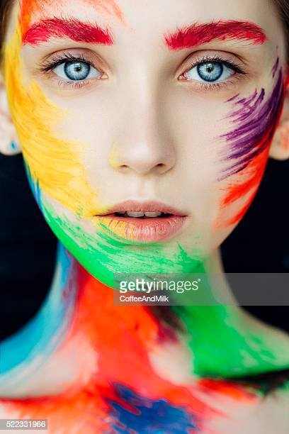 fantasy make-up - crazy holiday models stock photos and pictures