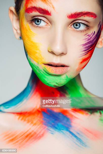 fantasy makeup - female body painting stock photos and pictures