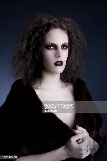 fantasy photo of young woman in gothic makeup - ugly black women stock photos and pictures