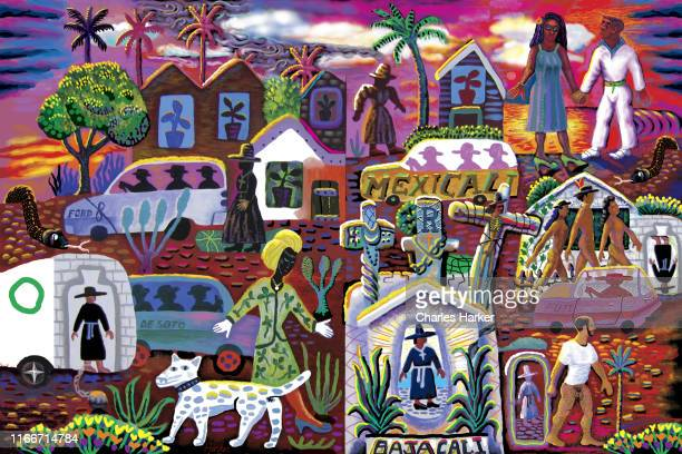 fantasy surreal dream landscape in digital folk painting style with imaginary cars, people, a dog and altars. - baja california peninsula stock pictures, royalty-free photos & images