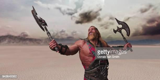 fantasy warrior with broadaxes - blonde forte poitrine photos et images de collection
