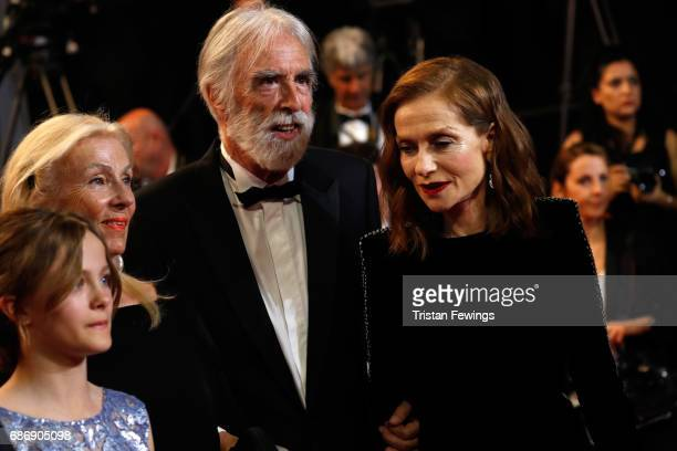 Fantine Harduin Susi Haneke director Michael Haneke and Isabelle Huppart attends the Happy End screening during the 70th annual Cannes Film Festival...