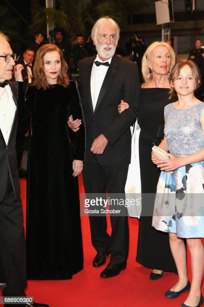 Fantine Harduin Susi Haneke director Michael Haneke Isabelle Huppart and JeanLouis Trintignant attends the Happy End screening during the 70th annual...