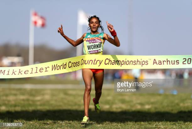 Fantu Worku of Ethiopia crosses the line to win the 4x2k mixed relay during the IAAF World Athletics Country Championships on March 30 2019 in Aarhus...