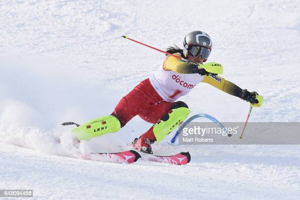 Fanying Kong of China competes in women's slalom alpine skiing on the day eight of the 2017 Sapporo Asian Winter Games at Sapporo Teine on February...
