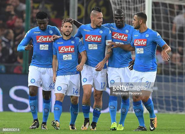 Faouzi Ghoulam Amadou DiawaraMarek Hamsik Kalidou Koulibaly and Dries Mertens of SSC Napoli celebrate the 11 goal scored by Dries Mertens during the...