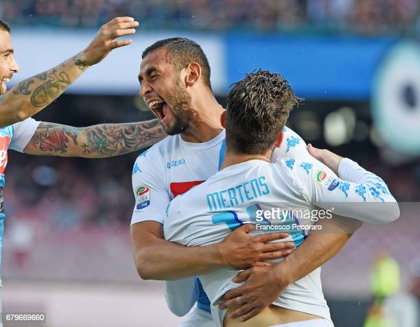 Faouzi Ghoulam and Dries Mertens of SSC Napoli celebrate the 10 goal scored by Dries Mertens during the Serie A match between SSC Napoli and Cagliari...