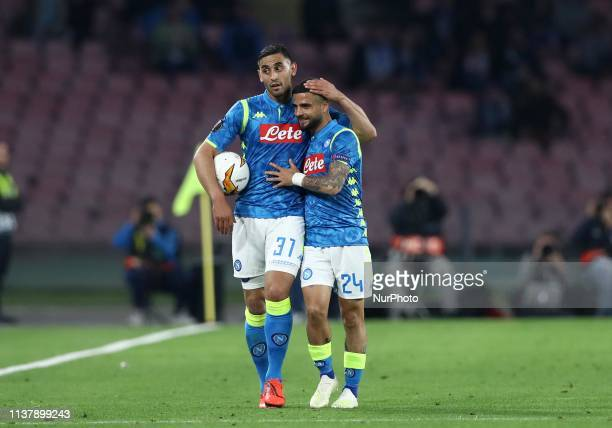 Faouzi Ghoulam and Lorenzo Insigne of Napoli during the UEFA Champions League quarterfinals second leg football match SSC Napoli v Arsenal Fc at the...