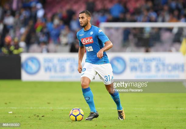 Faouzi Ghoulam during the Serie A match between SSC Napoli and US Sassuolo at Stadio San Paolo on October 29 2017 in Naples Italy