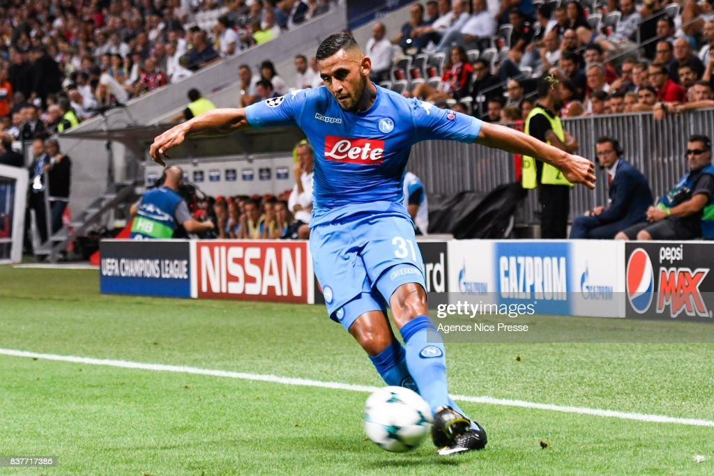 Faouzi Ghoulam of Naples during the UEFA Champions League Qualifying Play-Offs round, second leg match, between OGC Nice and SSC Napoli at Allianz Riviera Stadium on August 22, 2017 in Nice, France.