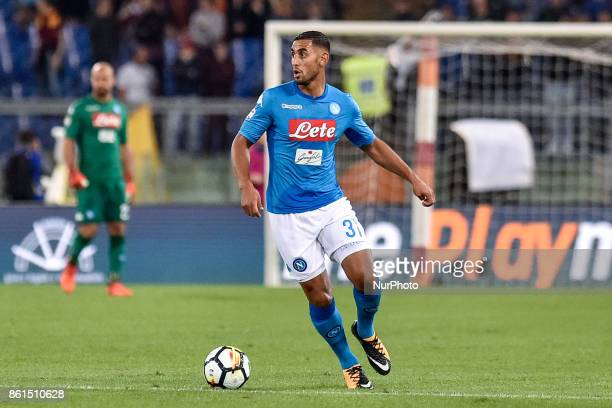 Faouzi Ghoulam of Napoli during the Serie A match between Roma and Napoli at Olympic Stadium Roma Italy on 14 October 2017