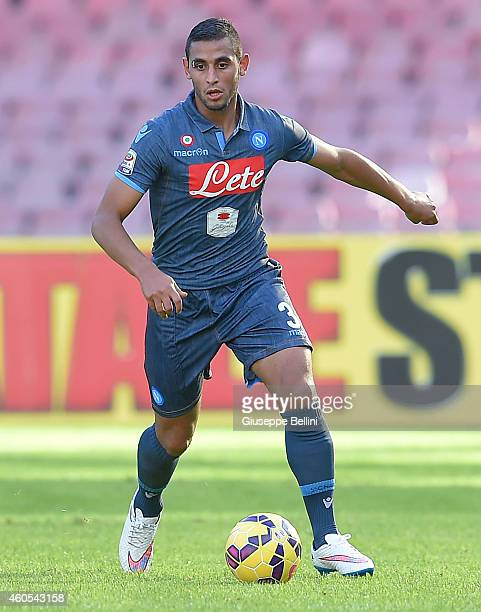 Faouzi Ghoulam of Napoli in action during the Serie A match between SSC Napoli and Empoli FC at Stadio San Paolo on December 7 2014 in Naples Italy