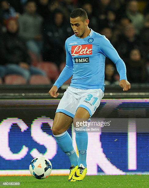 Faouzi Ghoulam of Napoli in action during the Serie A match between SSC Napoli and ACF Fiorentina at Stadio San Paolo on March 23 2014 in Naples Italy