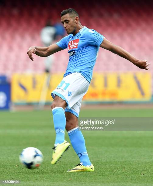 Faouzi Ghoulam of Napoli in action during the Serie A match between SSC Napoli and SS Lazio at Stadio San Paolo on April 13 2014 in Naples Italy