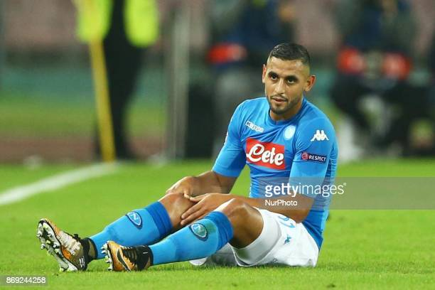 Faouzi Ghoulam of Napoli injured at San Paolo Stadium in Naples Italy on November 1 2017